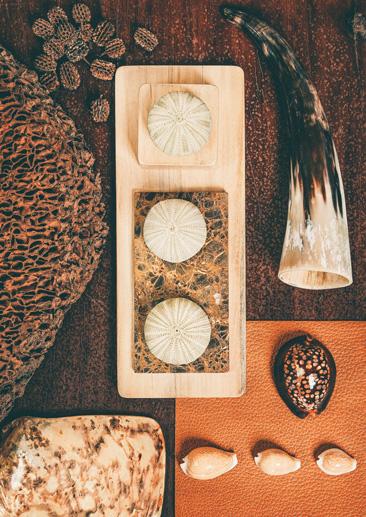 Matières naturelles à Kor landa, corne de Zébu, oursins, coquillages, termitière, graines.